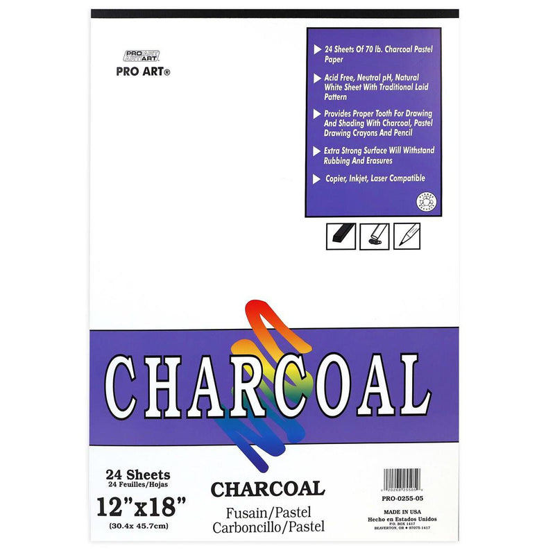 "Pro Art White Charcoal Pad 12x18"" 70lb Acid Free Charcoal & Pastel Pads & Sheets Art Nebula"