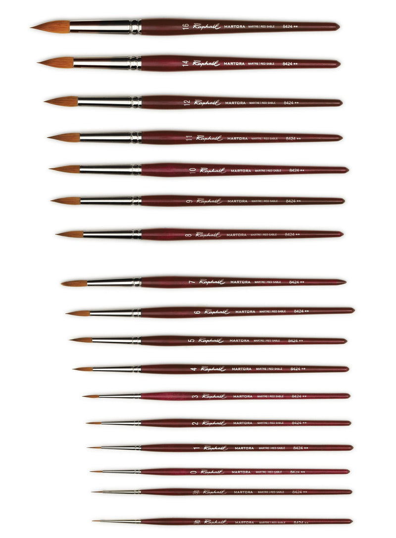 Raphael Martora Series 8424 Red Sable - Round, Extra Fine Watercolor Brush Watercolor Brush Art Nebula