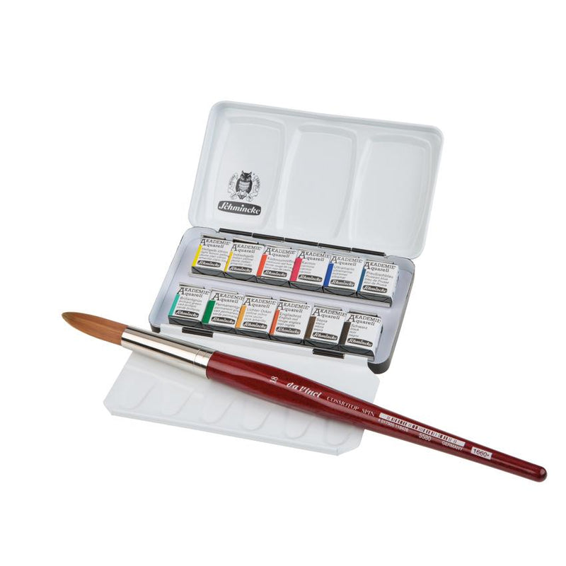 Schmincke Akademie Watercolour Metal Set 12 half pans + Da Vinci brush
