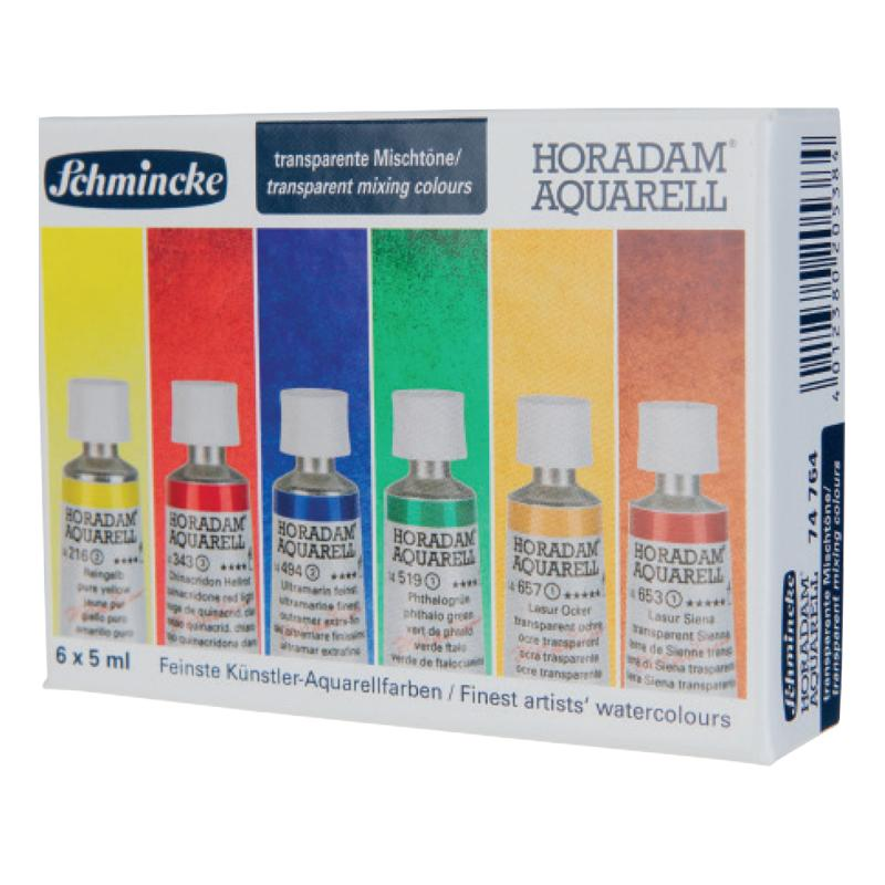 Schmincke Horadam Artist Watercolour Transparent Mixing Colors Set - 6 color 5ml tubes Watercolor Paint Art Nebula