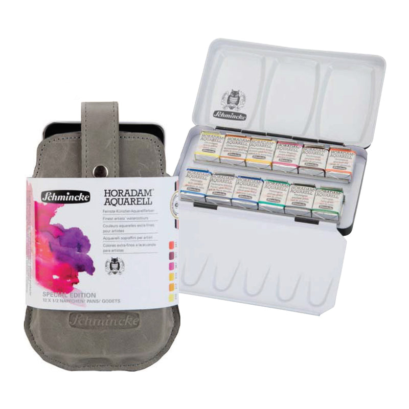 Schmincke Horadam Artist Watercolour with Leather Case Set - 12 Half Pans (Limited Edition)
