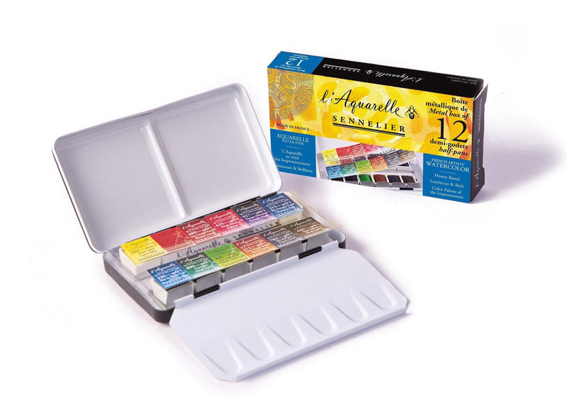 Sennelier Artist Watercolour 12 Half pans Metal Pocket Box Watercolor Paint Art Nebula