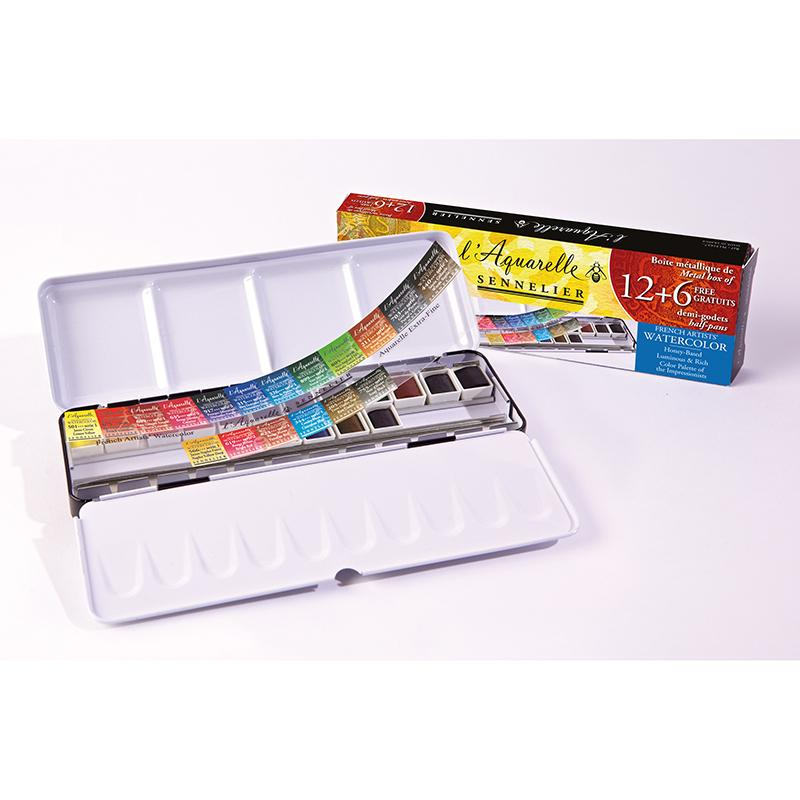 Sennelier Artist Watercolour 12 half pans metal box + 6 Free half pans Watercolor Paint Art Nebula