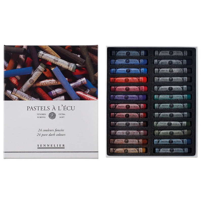 Sennelier Extra Soft Pastels 24 Full Stick - Pure Dark Set Pastels & Chalks Art Nebula