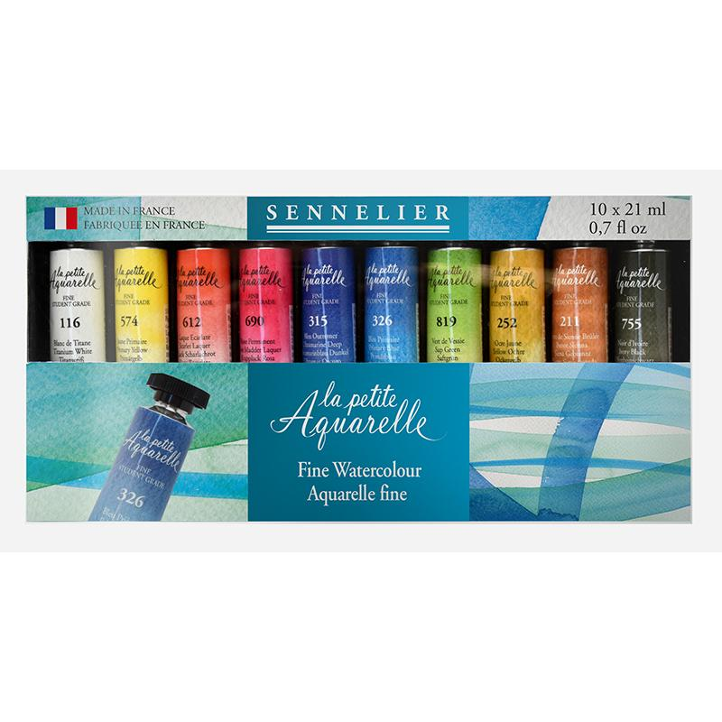 Sennelier La Petite Aquarelle Fine Student Set- 10 Tubes 21ml Watercolor Paint Art Nebula