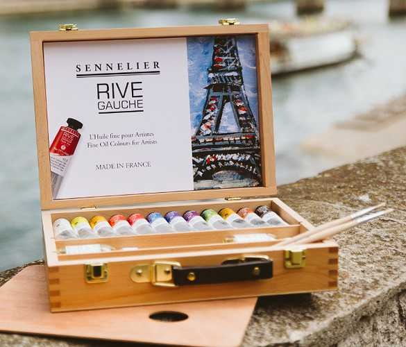 Sennelier Rive Gauche Oil Paint Discovery Wooden set - 12 color 40-ml Tubes Oil Paint Art Nebula
