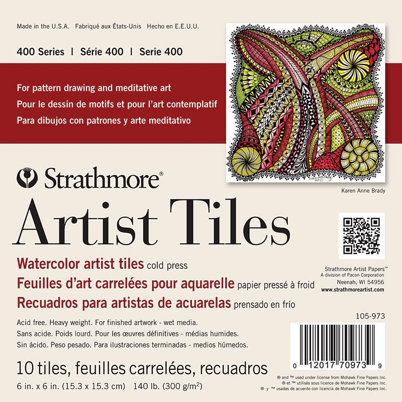 "Strathmore Artist Papers 400 Series 6"" x 6"" 140 lb. Cold Press Watercolor Artist Tiles 10 Sheet Pad Watercolor Sheets & Rolls Art Nebula"