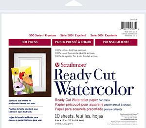 Strathmore Artist Papers 500 Series 140 lb. Ready Cut Watercolor Paper - HOT PRESS Watercolor Sheets & Rolls Art Nebula