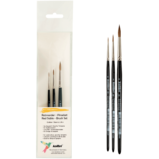 Kolibri Series 88 Red Sable Watercolor Brush Set