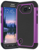Samsung Galaxy S6 Active Hybrid Black Silicone Cover with Purple Black Case - BastexShop
