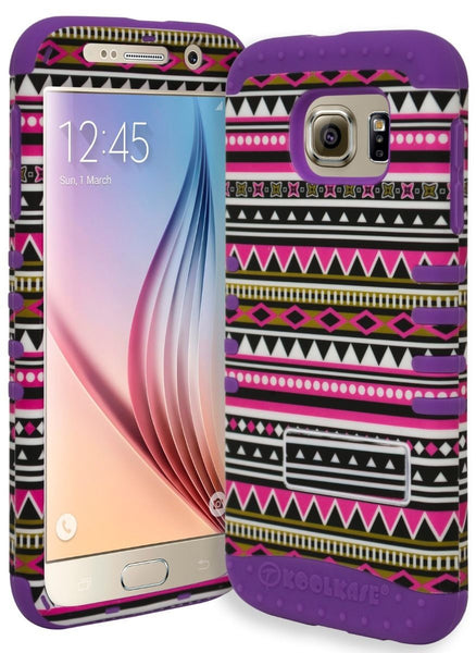 Samsung Galaxy S6 Hybrid Purple Cover with  Pink Aztec Kickstand Case - BastexShop