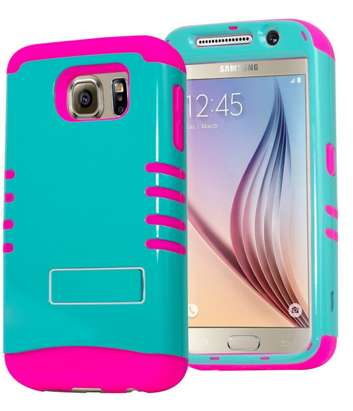 Samsung Galaxy S6 Hybrid Hot Pink Silicone Cover Teal Green Case - BastexShop