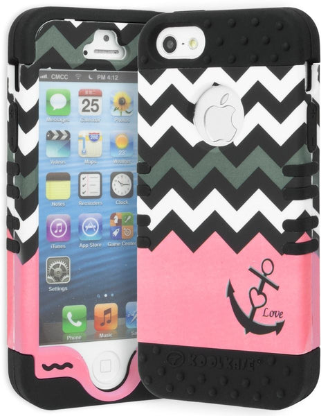 iPhone 5 Hybrid Black Silicone Cover  Chevron Pink Anchor Design Case - BastexShop