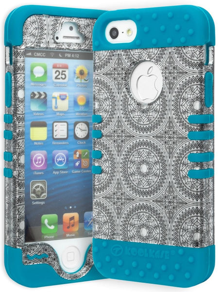 iPhone 5 Hybrid Neon Blue Silicone Cover  Silver Circles Case - BastexShop