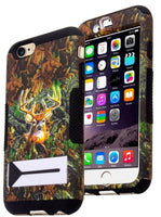 "iPhone 6, 4.7"", Black Cover with Deer Camo Design Hybrid Kickstand Case - BastexShop"