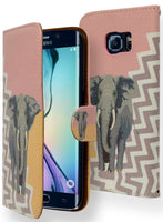 Samsung Galaxy S6 Edge Antique Coral Gold Elephant Wallet Flip Case - BastexShop