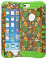 "iPhone 6S, 4.7"" Hybrid Green Silicone Cover •  Flowers Kickstand Case - BastexShop"