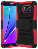 Samsung Galaxy Note 5 Hybrid Red Cover • Black 3pc Holster Kickstand Case - BastexShop