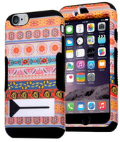 iPhone 6 5.5 Hybrid Black Silicone Cover Orange White Aztec Stand Case - BastexShop