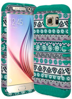 Samsung Galaxy S6 Hybrid  Teal Cover with Lilac Flowers Kickstand Case - BastexShop