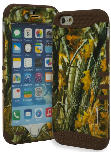 "iPhone 6, 4.7"" Hybrid Brown Silicone Cover Leaf Camo Kickstand Case - BastexShop"