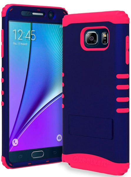 Samsung Galaxy Note 5 Hybrid Hot Pink Silicone Cover   Blue Stand Case - BastexShop