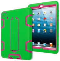 iPad Mini 1, 2, 3 Retina Hybrid Neon Green & Hot Pink Tron Stand Case Cover - BastexShop