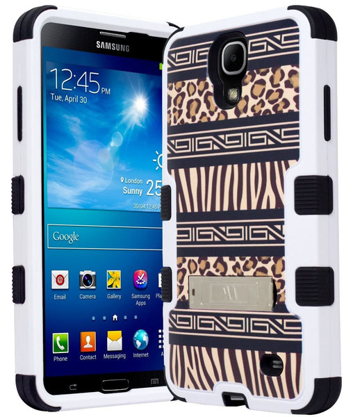 Samsung Galaxy Mega 2 Hybrid Black Cover  Brown Exotic Skin Stand Case - BastexShop