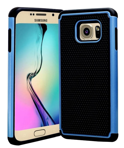Samsung Galaxy S6 edge+ Hybrid Dual Layer Black & Sky Blue Shock Case - BastexShop