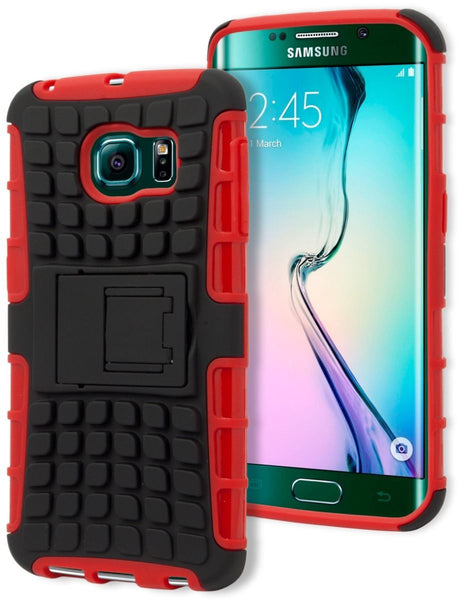 Samsung Galaxy S6 Edge, Durable Red Silicone and Black Tire Track Case - BastexShop