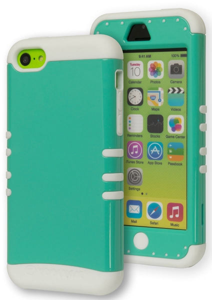 iPhone 5c,   Hybrid Case,  White Silicone Cover with Teal Cover - BastexShop