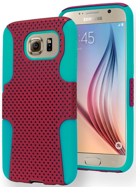 Samsung Galaxy S6 Edge, Durable Light Blue Cover with  Pink Mesh Case - BastexShop