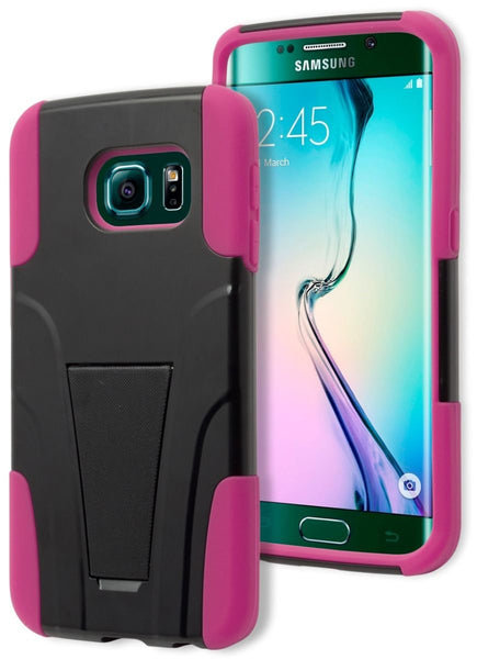 Galaxy S6 Edge,   Hybrid Black and Pink Stand Case - BastexShop