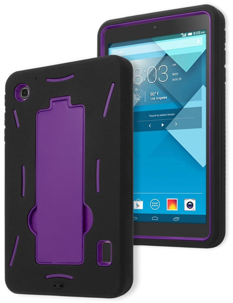 Alcatel One Touch Pop 7 p310a, Hybrid Purple Stand Case with Black Cover - BastexShop