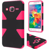 Samsung Galaxy Grand Prime Dynamic Slim  Hybrid Case - Black+Hot Pink - BastexShop