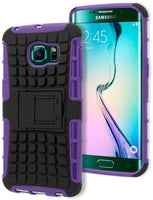 Samsung Galaxy S6 Edge, Durable Purple Silicone Black Tire Track Case - BastexShop