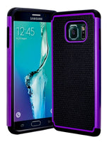 Samsung Galaxy S6 Edge Plus Hybrid Dual Layer Black & Purple Shock Case - BastexShop