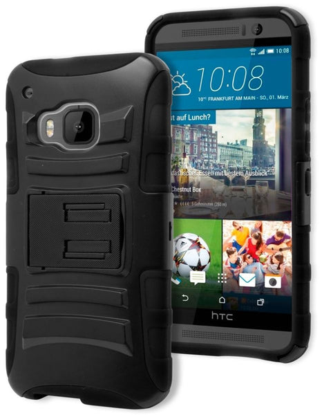 HTC One M9, Durable Black Silicone and Black Kickstand Holster Phone Case - BastexShop