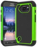 Samsung Galaxy S6 Active Hybrid  Black & Neon Green Shock Case - BastexShop