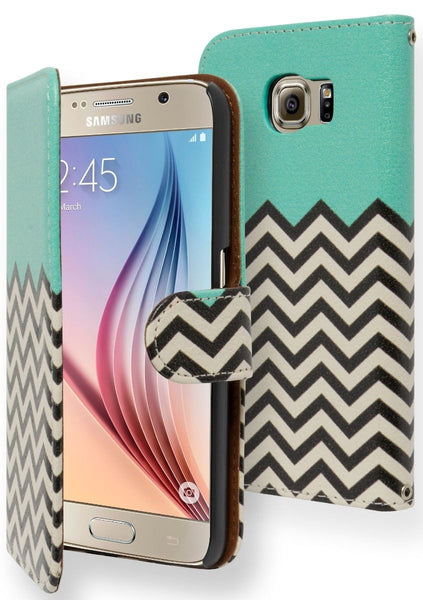 Samsung Galaxy S6 Teal Top Chevron Flip Wallet with Card Slot Case - BastexShop