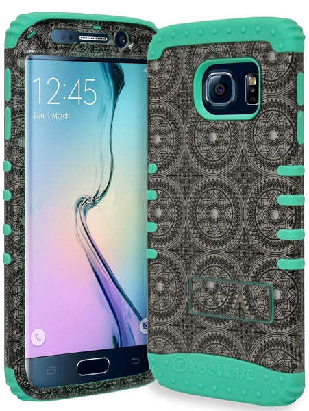 Samsung Galaxy S6 Edge Hybrid Teal Cover  Silver Grey Circles Case - BastexShop