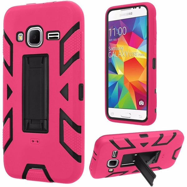 Samsung Galaxy Core Prime Vertical Hybrid Stand Case Cover-Black+Hot Pink - BastexShop