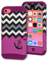 iPhone 5c, Hybrid Purple Silicone Cover with Purple Anchor Chevron Case - BastexShop
