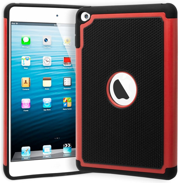 iPad Mini 4 Hybrid  Dual Layer Black Cover Red & Black Shock Case - BastexShop
