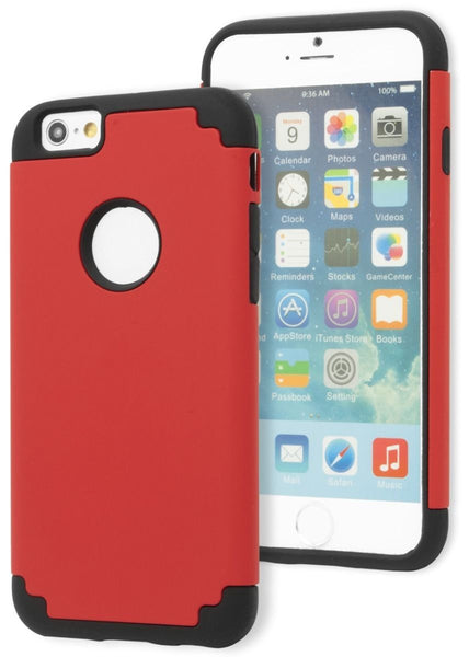 "iPhone 6, 4.7"" Hybrid Dual Layer Black Silicone Cover  Red Case - BastexShop"