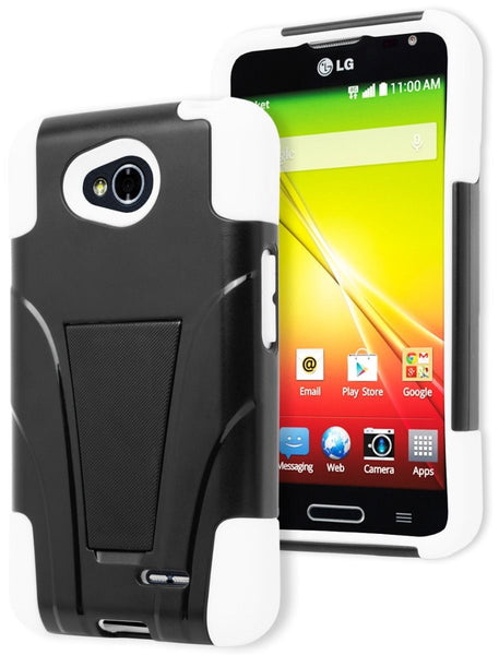 LG Optimus L70 Hybrid  White Silicone Cover  Black Stand Case - BastexShop
