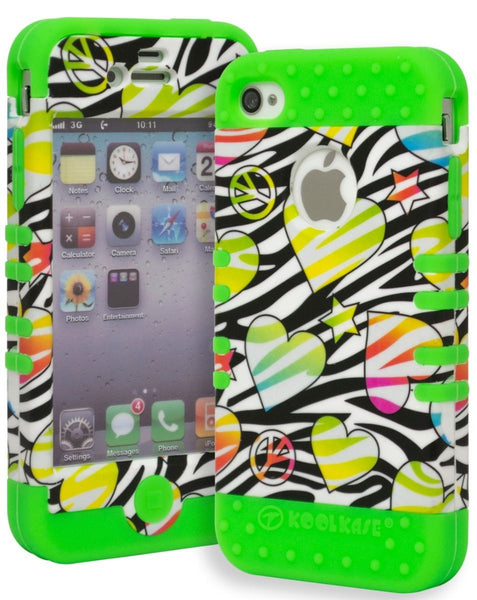 iPhone 4, Neon Green Silicone Cover and Zebra Hearts  Shell Phone Case - BastexShop
