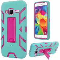 Samsung Galaxy Core Prime Vertical Hybrid Stand Case Cover-Hot Pink+Sky Blue - BastexShop