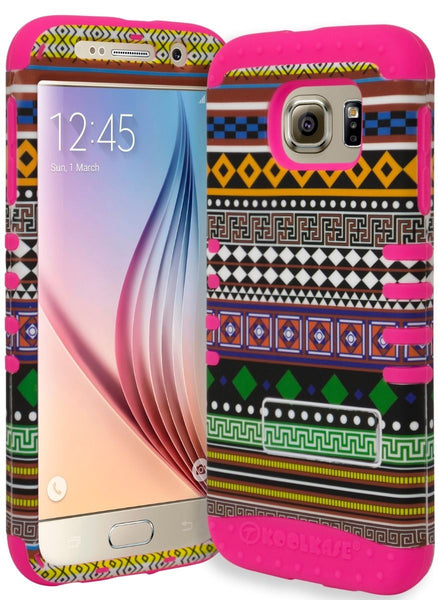 Samsung Galaxy S6 Hybrid Hot Pink Cover Green  Orange Aztec Tribal Case - BastexShop