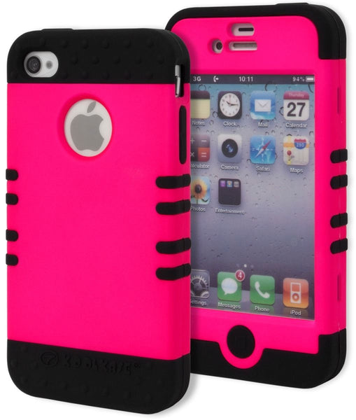 iPhone 4, 4s, Hybrid  Black Silicone Cover with  Hot Pink Case - BastexShop